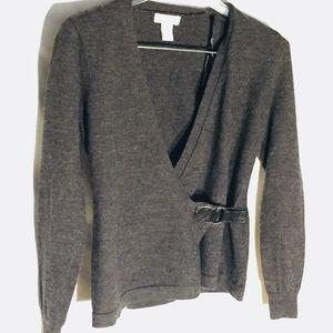 Tweeds 100% Merino Wool Wrap Buckle Sweater S Gray